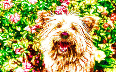 Retro Look Painting - Portrait Of The Dog 3 by Lanjee Chee