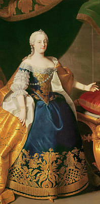 Golden Orb Painting - Portrait Of The Empress Maria Theresa Of Austria by Martin Mytens or Meytens