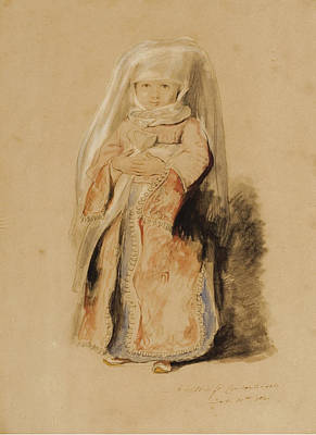 Turkish Painting - Portrait Of The Infant Daughter  by David