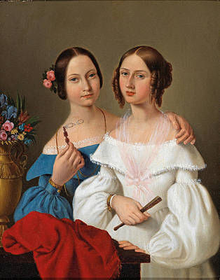 Painting - Portrait Of The Sisters Auguste And Caroline Von Luschin  by Attributed to Giovanni Schiavoni