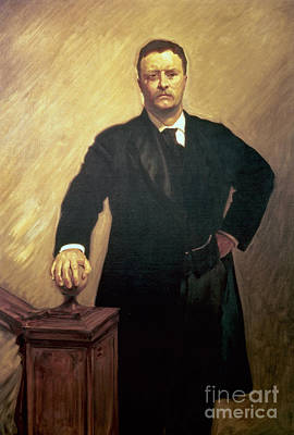 Glass Art Painting - Portrait Of Theodore Roosevelt by John Singer Sargent