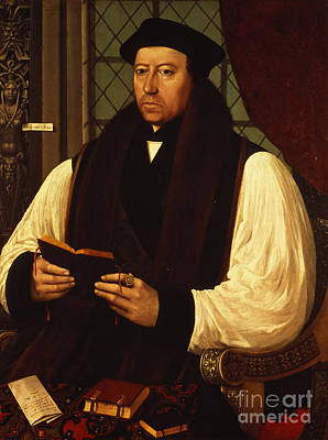 Clergy Painting - Portrait Of Thomas Cranmer by Gerlach Flicke