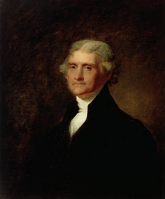 Newspaper Painting - Portrait Of Thomas Jefferson by Asher Brown Durand