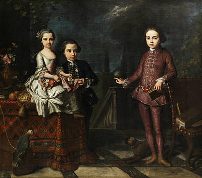 Late 18th Century Painting - Portrait Of Three Noble Children by Giuseppe Bonito