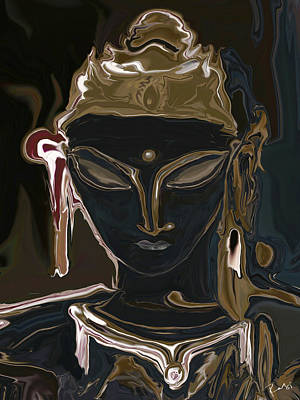 Art Print featuring the digital art Portrait Of Vajrasattva by Rabi Khan