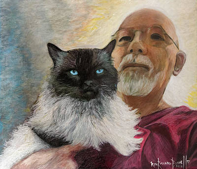 Painting - Portrait Of Veda And Ron by Ron Richard Baviello