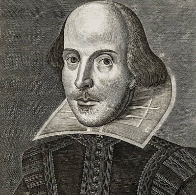 Faces Drawing - Portrait Of William Shakespeare by Martin the elder Droeshout