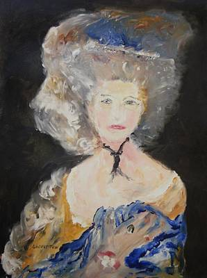 Portrait Of Woman In Blue Art Print by Edward Wolverton