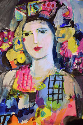 Painting - Portrait Of Woman With Flowers by Amara Dacer