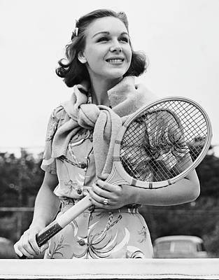 Portrait Of Woman With Racquet On Tennis Court Art Print by George Marks