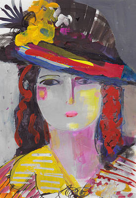 Painting - Portrait Of Woman With Vintage Hat by Amara Dacer
