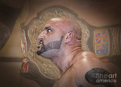 Tattoo Photograph - Portrait Of World Heavyweight Wrestling Champion J R Kratos Version II by Jim Fitzpatrick