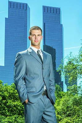 Photograph - Portrait Of Young American Businessman Traveling, Working In New by Alexander Image