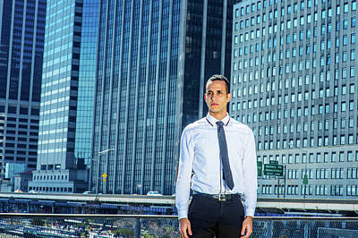 Photograph - Portrait Of Young Businessman In New York by Alexander Image