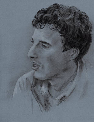Drawing - Portrait Of Young Man 19 by Masha Batkova