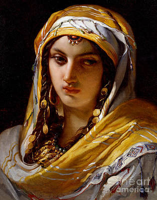 Portrait Of Young Oriental Woman Art Print by Jean-Francois Portaels