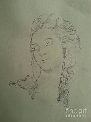 Drawing -  Portrait Of Elisabeth Vigee Le Brun by Maja Sokolowska