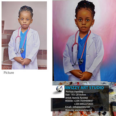 Nigerian Artist Painting - Portrait Painting Of A Young Girl by Ayodeji Ayeola