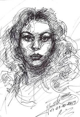 Pretty Girls Drawing - Portrait Sketch  by Ylli Haruni