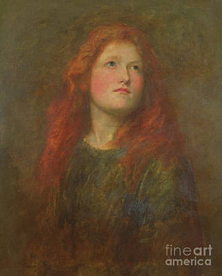 Auburn Painting - Portrait Study Of A Girl With Red Hair by George Frederick Watts