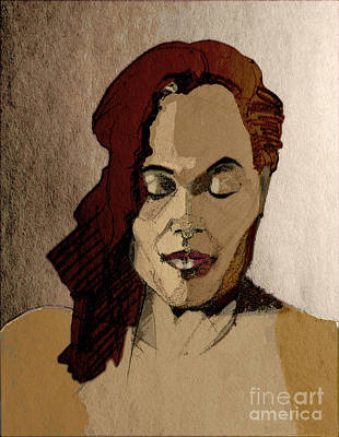 Mixed Media - Tinted Portrait Drawing Of A Young Woman With Closed Eyes by Greta Corens