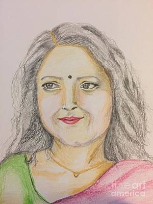 Drawing - Portrait With Colorpencils 2 by Brindha Naveen
