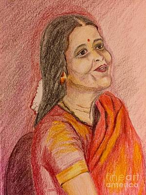 Painting - Portrait With Colorpencils by Brindha Naveen