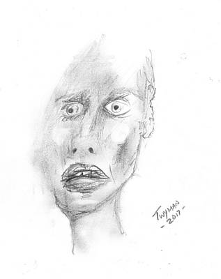 Drawing - Portrait With Mechanical Pencil by Dan Twyman