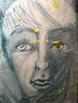 Drawing - Portrait With Yellow by Judith Redman