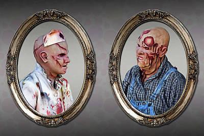 Digital Art - Portraits Of Ma And Pa Zombie by John Haldane