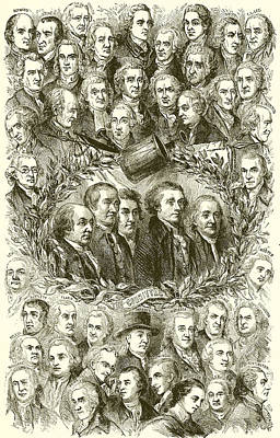 Independence Drawing - Portraits Of The Signers Of The Declaration Of Independence by American School