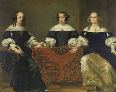 Portraits Of The Three Regentesses Of The Leprozehnhuis Amsterdam Art Print by Ferdinand Bol