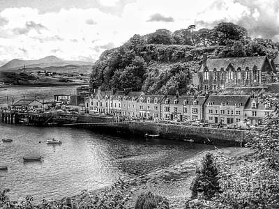 Photograph - Portree Harbour In Greyscale by Joan-Violet Stretch