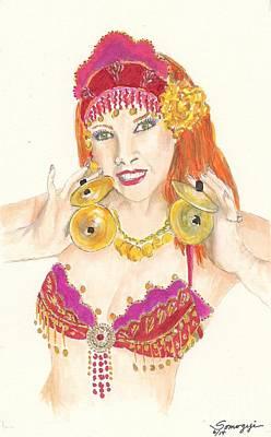 Portrait Of The Artist Playing Zills -- Belly Dancer Self-portrait Art Print