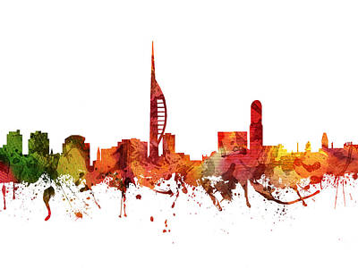 Europe Drawing - Portsmouth Cityscape 04 by Aged Pixel