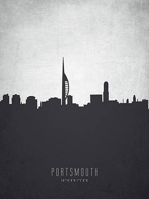 Portsmouth Painting - Portsmouth England Cityscape 19 by Aged Pixel