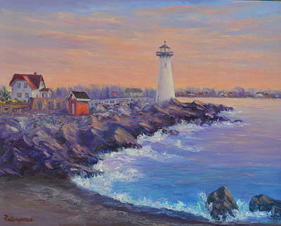 Painting - Portsmouth Lighthouse Sunset Peaceful  Coastal Painting by Amber Palomares