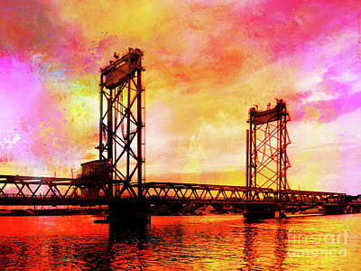 Portsmouth Memorial Bridge Abstract At Sunset Art Print