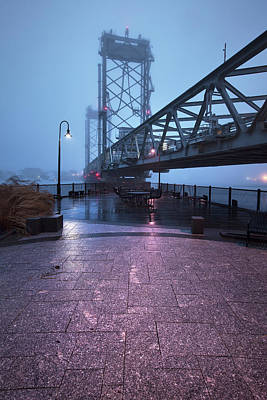 Photograph - Portsmouth Memorial Bridge In Fog by Eric Gendron