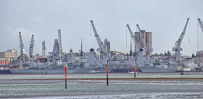 Warships Photograph - Portsmouth Navy Docks by Martin Newman
