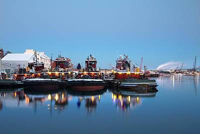 Photograph - Portsmouth Tugboats In Blue by Eric Gendron
