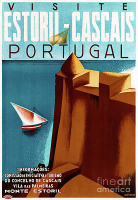 Mixed Media - Portugal Estoril Vintage Travel Poster Restored by Carsten Reisinger