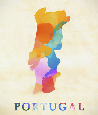 Painting - Portugal Watercolor Map by Dan Sproul