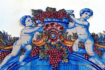 Hand-painted Ceramic Art Tile Photograph - Portuguese Azulejos 02 by Dora Hathazi Mendes