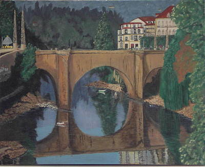 Art Print featuring the painting Portuguese River Bridge by Hilda and Jose Garrancho