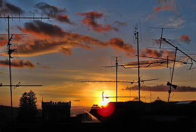 Photograph - Portuguese Roof Antenna And Skylight Scene At Sunset by Menega Sabidussi