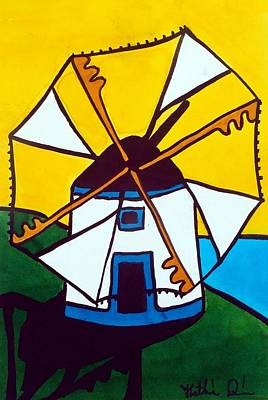 Painting - Portuguese Singing Windmill By Dora Hathazi Mendes by Dora Hathazi Mendes