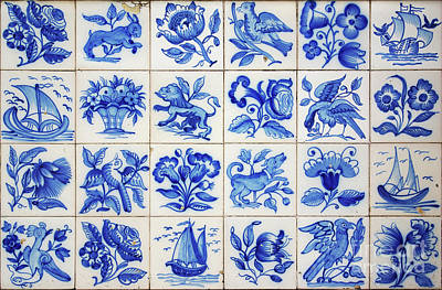 Hand-painted Ceramic Art Tile Photograph - Portuguese Tiles by Carlos Caetano