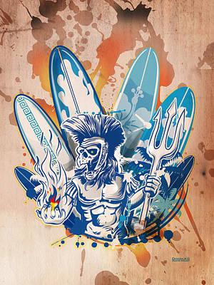 Celebrity Watercolors - Poseidon Death Surfer On Surfboard Background by Domenico Condello