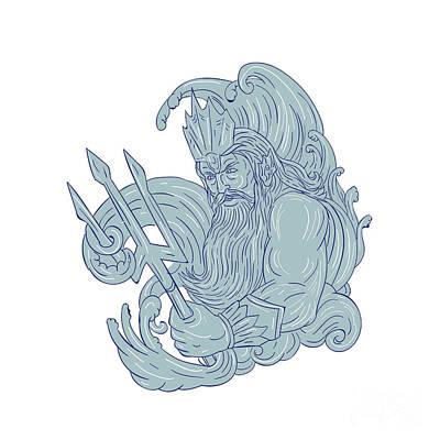 Poseidon Trident Waves Drawing Art Print